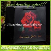 (BLF-PB771) Black paper bag rose fine art paper