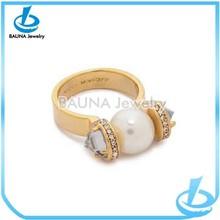 Unique cute fancy white pearl ring designs