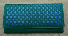 lady's fashion wallet with die cut design hollow out the shinny color