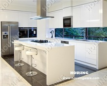 White high gloss kitchen cabinets with white quartz counter top, made by housing kitchen manufacturer