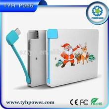 gift usb mobile power bank 2500mah , portable card power bank 2500mah with one data line