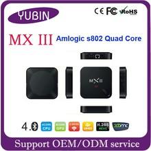 MX3 android tv box Amlogic S802 Quad Core 2.0G direct tv set top box