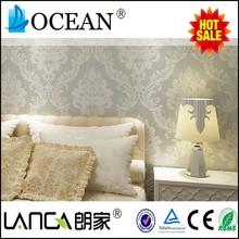 elegant waterproof grey damask velvet non woven texture wallpaper for room