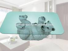 27 inches Polar Bear Resin Decorative Coffee Table Glass Table