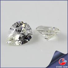 White loose CZ gemstones high quality pear shape cubic zircon