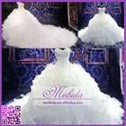Luxury Crystal Beaded Puffy Organza Ruffle China Custom Made Real Sample Wedding Dresses 2015