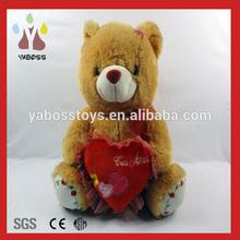 Soft cute 25cm sitting plush i love you teddy bear with red heart