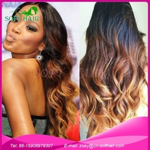 Wholesale qingdao soft hair texture and color available ombre 3 tone full lace wig brazilian human hair ombre wig