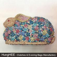 Multi-color Luxury Bling Diamond 3D Rabbit Rhinestone Crystal Clutch Bag