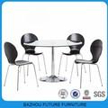 New style oval de jantar de vidro temperado set chrome bases com 4 cadeiras
