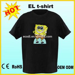hot!! washable el sound t-shirts 100% cotton light up flashing tshirt