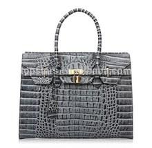Top grain leather embossed crocodile ladies purse