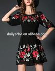 summer 2015 half sleeve Embroidery dress famous brand evening dresses