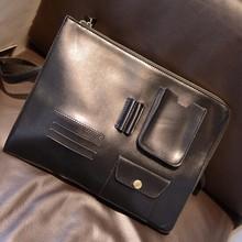 Hot selling famous brand luxury pu men's envelope clutch bag