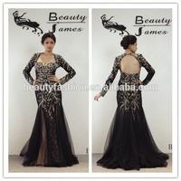 2015 black color long sleeve net fabric beads decorated mermaid cut sexy evening dresses & wedding dresses