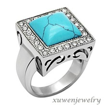 wholesale new style 316l stainless steel mens turquoise ring
