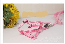 pink dog harness with leash, size S M L available , outdoor pet harness with lead