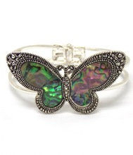 Wholesale Fashion Jewelry Abalone stone butterfly hinge bracelet