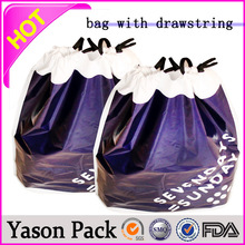 Yason po plastic handle bags drawstring bag drawstring promotional bag christmas sack with drawstring