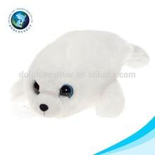 2015 Top selling stuffed white big eyes soft sea lion toy plush animals(big eyes)