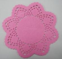 Felt pink laser cut coasters