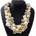 оптовые ювелирные изделия новый прибыл китай мода золото заявление жемчужное ожерелье