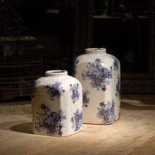 Vintage white pottery vase blue flower decal white glazed ceramic flower pot