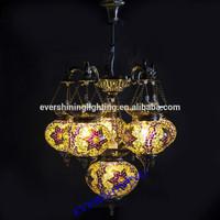 Evershining Brand 2015 New Design 6 Glass Handmade Mosaic Craft Turkish Chandelier led Antique Pendant Light YMA421