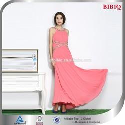 Latest Design Halter Beaded Women Evening Dress Chiffon Sexy Maxi dress