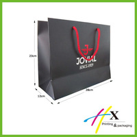 Luxury Black Paper Shopping Bag with Cotton Rope Handles