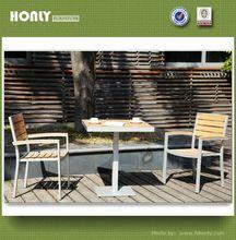 Aluminum frame teak top restaurant table square solid wood restaurant table