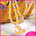 Nuevo producto conejo lindo collar de cristal, cuerda de rosario para los niños