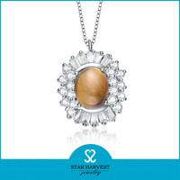 Charming flower shape opal silver pendant