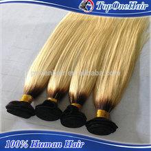 grade 6A cheap ombre air extension european hair bundles two tone color #1b/613 european virgin hair extensions