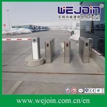 security Stainless steel Retractable waist high gate flap barrier bi-directiona l swing turnstile/