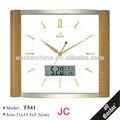 Reloj de pared de plástico con calendario de la fecha visualizada y temperatura