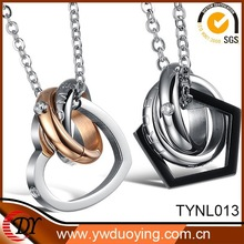 2015 Stainless Steel Heart Pendant Necklace Fashion Round Lovers Couple Necklace