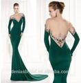 v cuello verde con mangas largas de terciopelo vestidodenoche con la espalda baja
