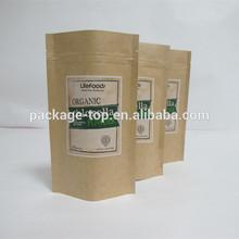 flat bottom fried chicken food grade paper bag, kraft paper packaging bag with printing