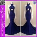 azul royal pendurado no pescoço moda sexy vestido longo bonito bandagem sereia vestidos de noite kf101