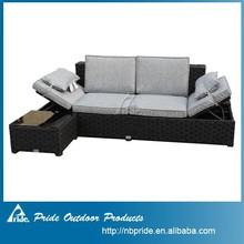 Cheap outdoor furniture rattan sofa bed