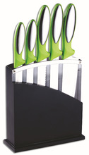 5pcs best kitchen knife set in soft TPR handle with black wooden block