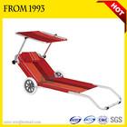 BSCI Custom Logo Modern Folding Portable Beach Bed Aluminium Beach Bed With Canopy and Wheels