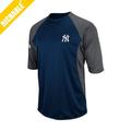 Impression personnalisée logo 2015 yankees baseball man comed coton t- chemises à manches raglan