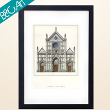 Western ancient architectural castle paper painting