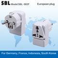 Conversão socket, plugue europeu, europeu de elevada qualidade bitola adaptador
