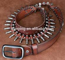 2015 New style Bullet cowhide geniune leather belt