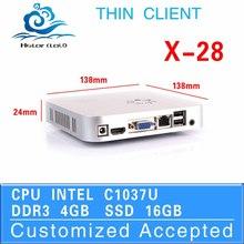 1080P Slim desktop computer x-28 1037u networking dual core thin client 4g ram 16g ssd fan desktop ABS market displaying box