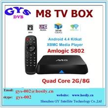 M8 Amlogic S802 Quad Core Android 4.4 Kitkat tv box XBMC 4K WiFi Smart TV box Fully loaded XBMC