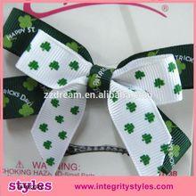 Cute high quality bow hair clips Fashion baby girls bow hair clips with lucky four leaf